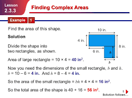 5 b h finding complex areas example 1 lesson 2 3 3 area of large rectangle