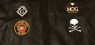 bike chopper harley davidson leather jacket motorcycle patches skull
