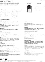2013 Title 24 Lighting Rab Lighting Inc Spec Sheet Entra12y Pc