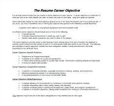 Career Objective Samples For Resume Sample Job Objectives Resume