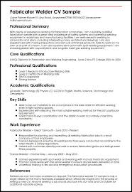 Welder Resume Impressive Fabricator Welder CV Sample MyperfectCV Resume Cover Letter
