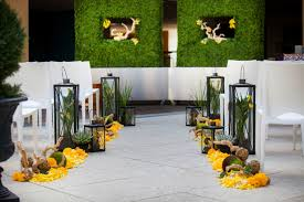 wedding decoration ideas silver and yellow wedding decorations Wedding Decorations Yellow And Gray green and yellow wedding decorations with small wooden cahirs and glass lanterns also big plant wedding decorations yellow and gray