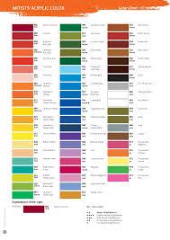 Shinhan Acrylic Paint Color Chart Art Color Theory