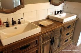 Used Bathroom Vanity Cabinets Remodelaholic How To Achieve A Restoration Hardware Weathered