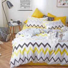 gray and yellow chevron stripe bedding