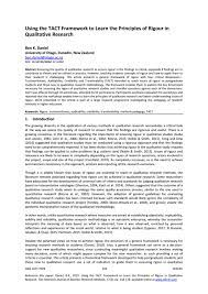 For a qualitative paper, although there is no need for statistical analysis of data, there is still a need to interpret the results for your audience in the discussion section. Using The Tact Framework To Learn The Principles Of Rigour In Qualitative Research By Academic Conferences And Publishing International Issuu
