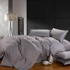 solid silver grey pure color reactive printed simply modern chic full queen size cotton satin bedding sets