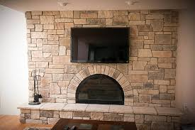 reface brick fireplace family room with cobble stone fireplace design