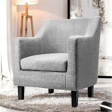 amazon harper bright designs fabric accent chair contemporary arm chair with solid wood legs gray kitchen dining