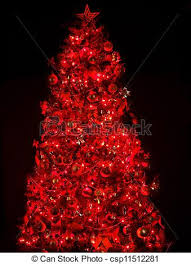 Christmas Tree With Light And Red Ball. Stock Photo