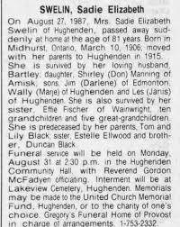Obituary for Sadie Elizabeth SWELIN, 1906-1987 (Aged 81) - Newspapers.com
