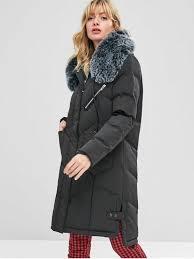 faux fur hood padded parka coat black xl