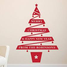 Personalised Christmas Tree Vinyl Wall Sticker .