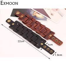 whole ex moon mens wide leather bracelets new design male punk brown genuine leather vintage wrap charm bracelet pulseras jewelry