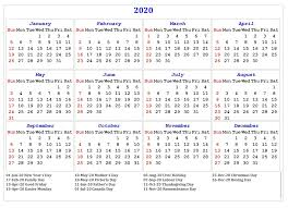 Printable Calendars 2020 With Holidays Free Yearly Printable Calendar 2020 With Holidays