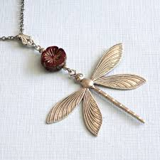 long silver dragonfly necklace large dragonfly red necklace dragonfly jewelry nature jewelry