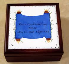 hand painted personalized judaica wood box bar mitzvah