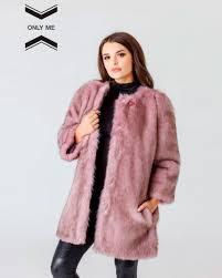 pink fox eco fur jacket