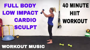 40 minute full body low impact cardio sculpt weights hiit workout barefoot workout you