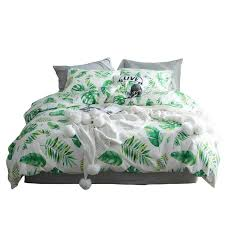 tutubird tropical leaf plant print bed linen bedding set 100 bohemian duvet covers queen twin size home textile grey and white comforter sets black