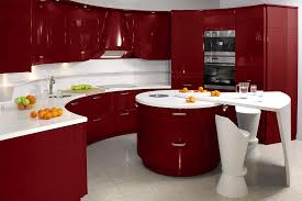 Antique contemporary kitchen in red and white Modern Kitchen Decoration  Designs in Fresh Colors.