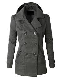 le3no womens classic wool double ted pea coat jacket with hoo