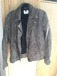 mens suede leather biker jacket topman medium 96 101cm