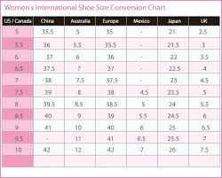 Womens International Shoe Size Conversion Chart U S