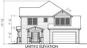 house side elevation view for d 548 duplex house plans corner lot duplex house
