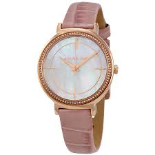 michael kors cinthia mother of pearl dial las leather watch mk2663