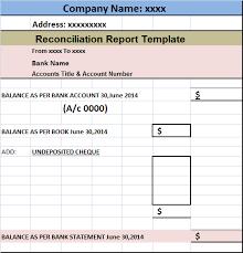 Reconciliation Template Account Reconciliation Report Template Free Report Templates