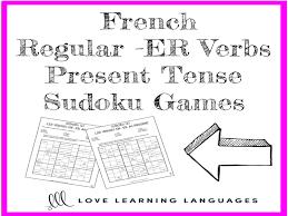 french er verbs french regular er verbs present tense sudoku games by
