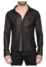 washed black leather shirt