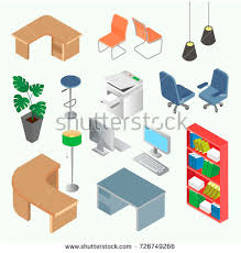 isometric office furniture vector collection. Isometric Office Furniture Vector Collection. Set Of And Equipment For Design In The Collection C