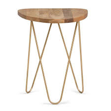 simpli home patrice round 18 in wide metal and wood accent