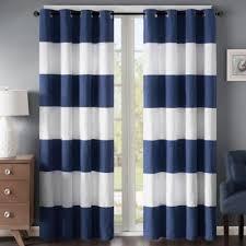 Regency Heights Parker Stripe 63-Inch Grommet Window Curtain Panel in Navy/ White