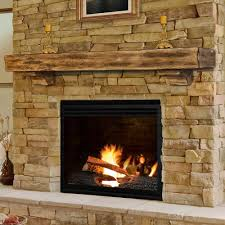 rustic fireplace mantel shelves decor with unfinished wooden