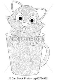 kitten in a cup coloring vector for s