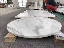calacatta white marble round table top polished white mable coffee tea round table top