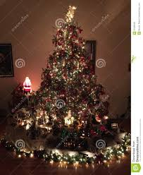 Christmas Tree With White And Multicolor Lights Christmas Tree And Village Stock Photo Image Of Passed
