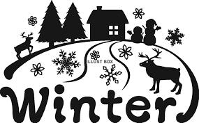 無料イラスト 四季のポイント冬モノクロ