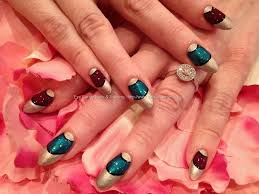 Eye Candy Nails & Training - Almond shape acrylic nails with teal ...
