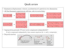 quick review kinematics displacement velocity acceleration of a particle in two dimensions
