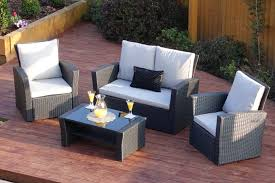 4 piece algarve rattan sofa set in black with light cushions includes free protective cover