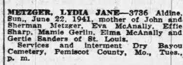 Obituary for LEM J ANE-3736 METZGER - Newspapers.com