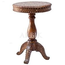 camel bone inlay round side table
