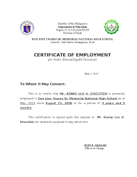 Example Of A Certificate Of Employment Example Of Certification Employment 10 Reinadela Selva