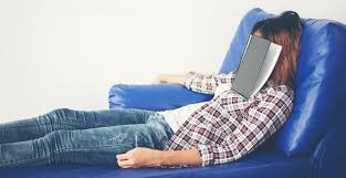 extracurricular activities and their effect on student sleep young beautiful w sleeping on blue sofa tired for writing