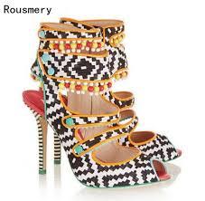 <b>Hot</b> Mixed Color Weaved Leather Boho Women Sandals <b>Beading</b> ...