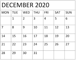 December 2020 Calendar Word Template Free Latest Calendar